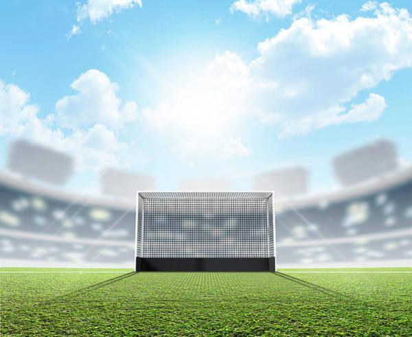 Daylight Digital Art - Sports Stadium And Hockey Goals by Allan Swart