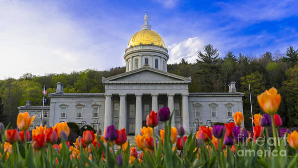 Photograph - Spring Time At The Vermont Statehouse. by New England Photography