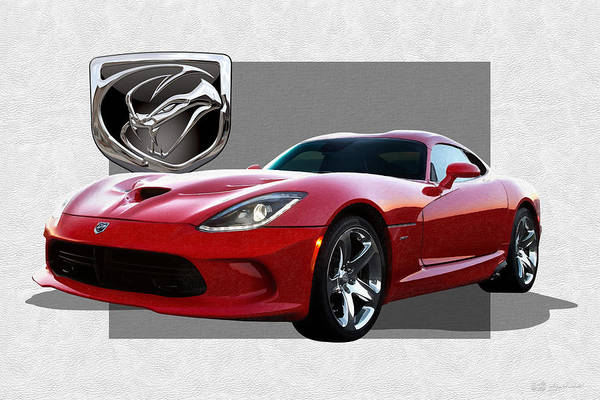 Car Badges Photograph - S R T  Viper With  3 D  Badge  by Serge Averbukh