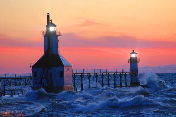 Lighthouse Wall Art - Photograph - St. Joseph Pier Lighthouse by Michael Rucker
