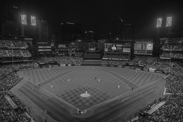 Photograph - St. Louis Cardinals Busch Stadium Black White Creative 11 by David Haskett II