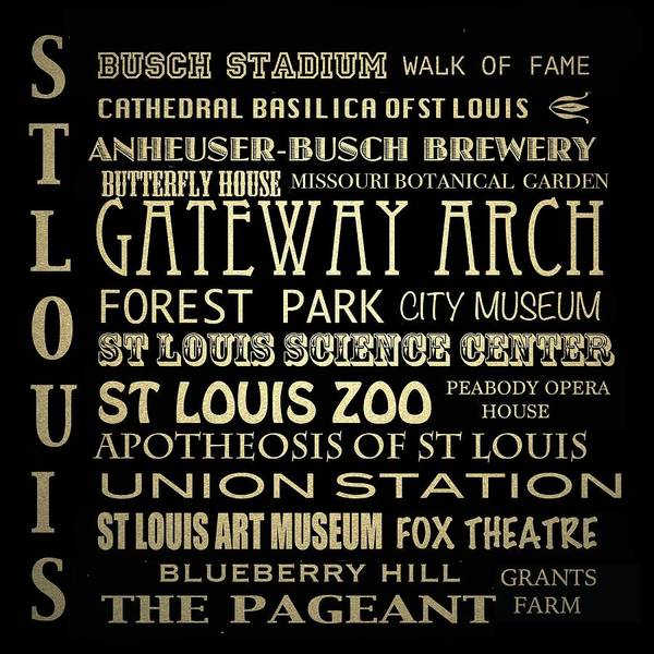 Wall Art - Digital Art - St Louis Missouri Famous Landmarks by Patricia Lintner