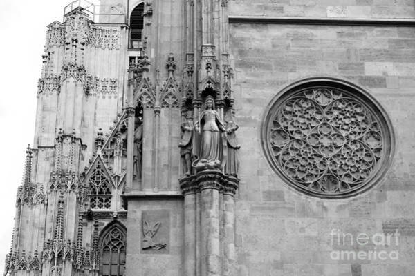 Photograph - St Stephens Cathedral Vienna In Black And White by Angela Rath