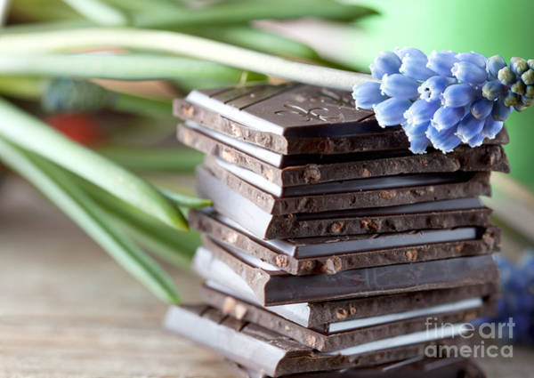 Dark Background Photograph - Stack Of Chocolate by Nailia Schwarz