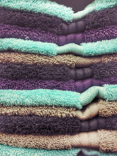 Bath Photograph - Stack Of Colourful Towels by Tom Gowanlock