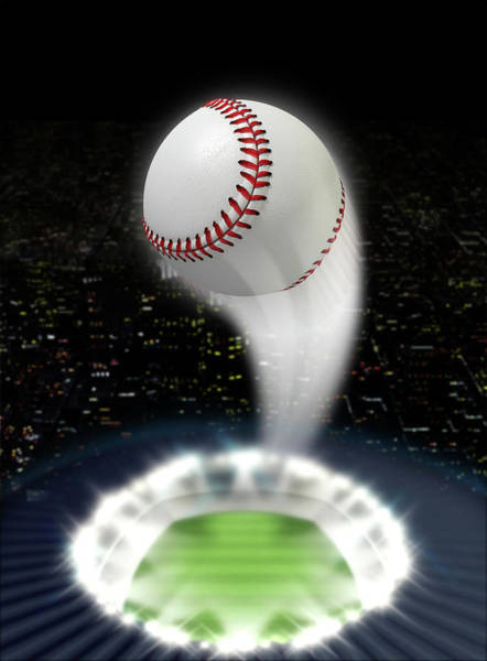 Pitch Digital Art - Stadium Night With Ball Swoosh by Allan Swart