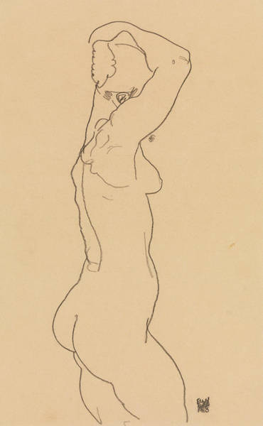 Austrian Drawing - Standing Nude, Facing Right by Egon Schiele