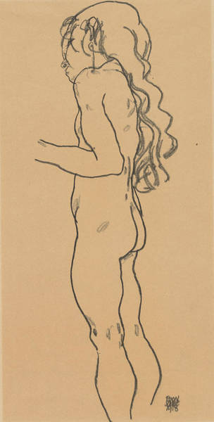 Austrian Drawing - Standing Nude Girl, Facing Left by Egon Schiele