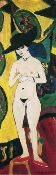 Painting - Standing Nude With Hat by Ernst Ludwig Kirchner