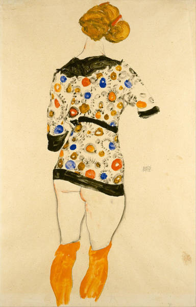 Butt Painting - Standing Woman In A Patterned Blouse by Egon Schiele