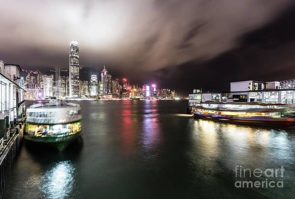 Photograph - Star Ferry Building In Hong Kong At Night by Didier Marti