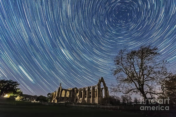 Photograph - Star Trails In Bolton Abbey by Mariusz Talarek