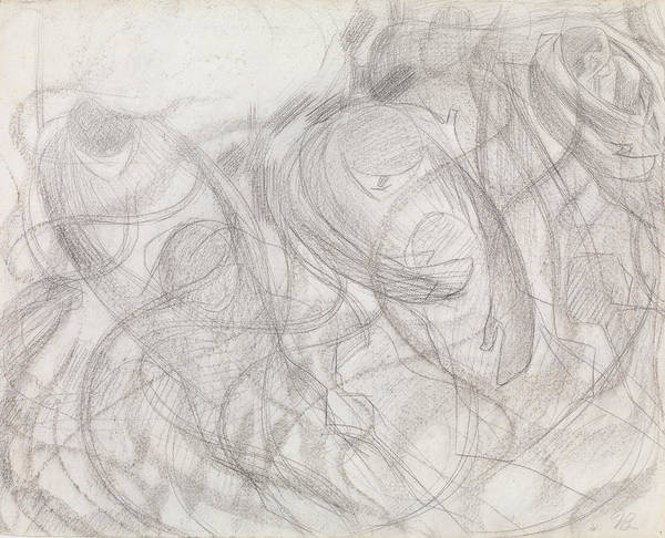 Drawing - States Of Mind - The Farewells by Umberto Boccioni