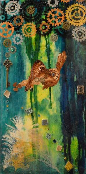 Painting - Steampunk Owl Blue Horizon by MiMi Stirn