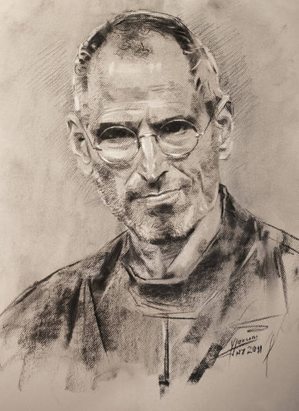 Apple Drawing - Steve Jobs by Ylli Haruni