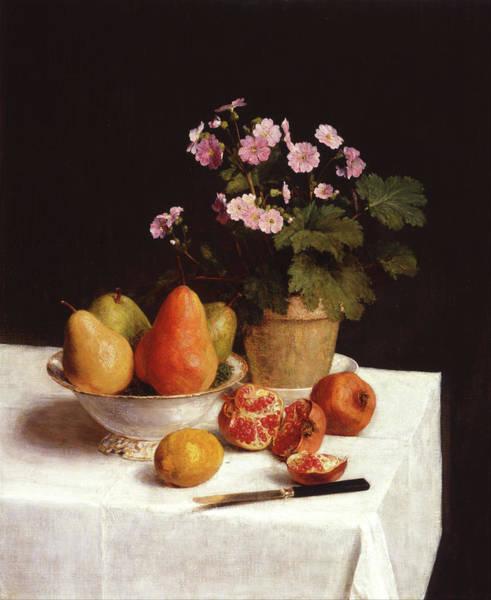 Painting - Still Life Primroses, Pears And Pomegranates by Henri Fantin-Latour