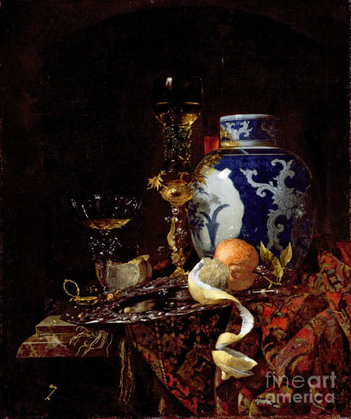 Wealth Painting - Still Life With A Chinese Porcelain Jar by Willem Kalf