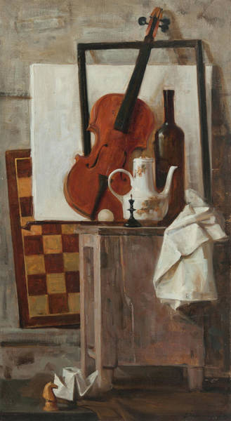 Wall Art - Painting - Still-life With A Violin by Victoria Kharchenko