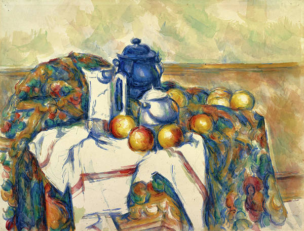 Apple Peel Wall Art - Painting - Still Life With Blue Pot by Paul Cezanne