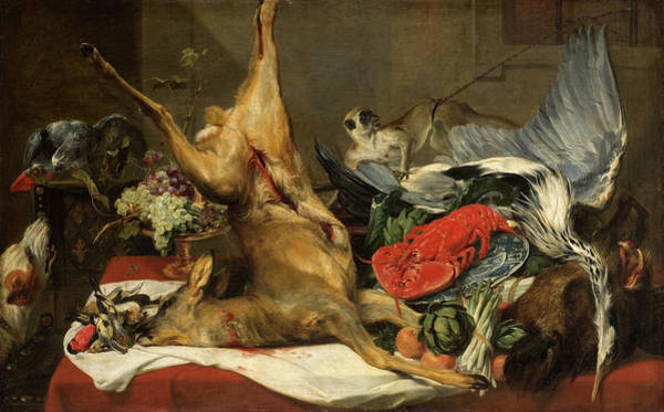 Leaf Monkey Wall Art - Painting - Still Life With Dead Game, A Monkey, A Parrot, And A Dog by Frans Snyders