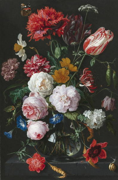 Wall Art - Painting - Still Life With Flowers In A Glass Vase by Jan Davidsz De Heem