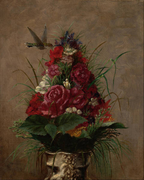 Wall Art - Painting - Still Life With Hummingbird  by William Merritt Chase
