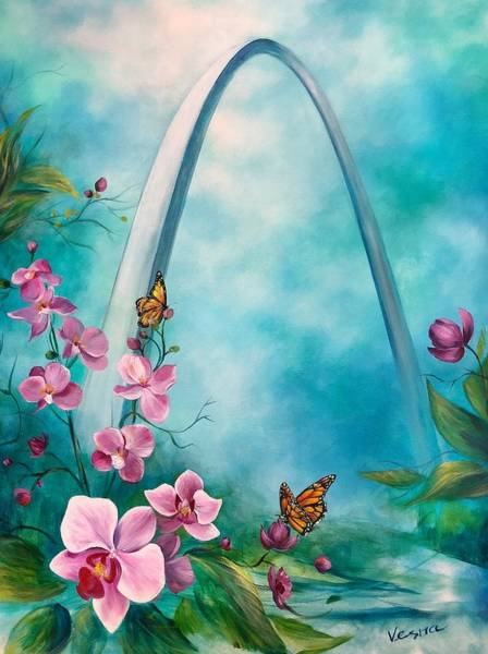 St Louis Arch Painting - St.louis Orchids  by Vesna Delevska
