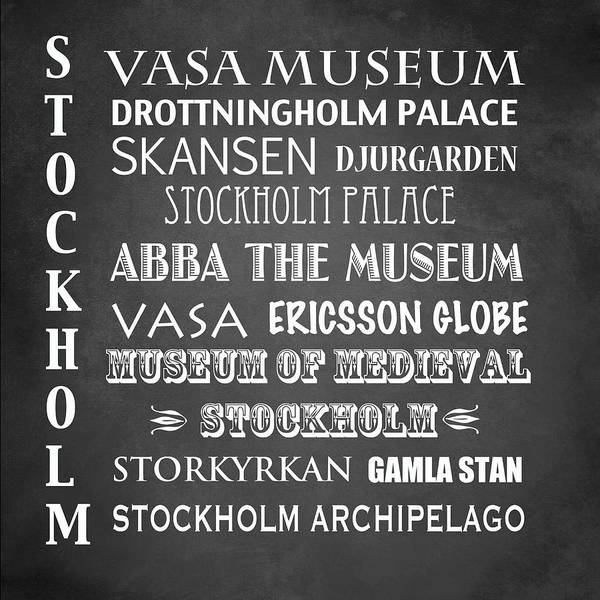 Wall Art - Digital Art - Stockholm Famous Landmarks by Patricia Lintner