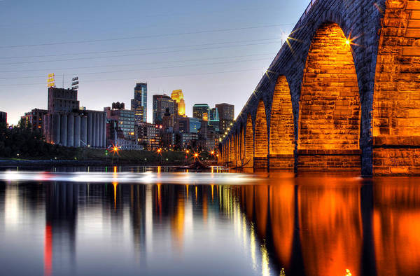 Minneapolis Photograph - Stone Arch Sunset by Michael Klement