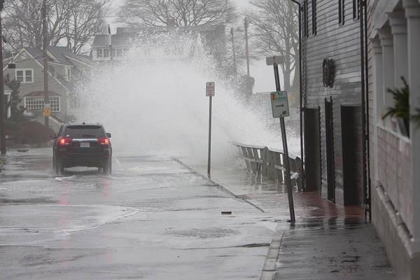 Photograph - Stormy Waves Pound The Shoreline by Jeff Folger