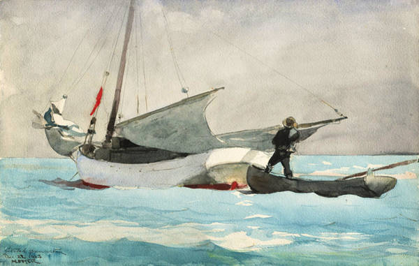 Painting - Stowing Sail by Winslow Homer
