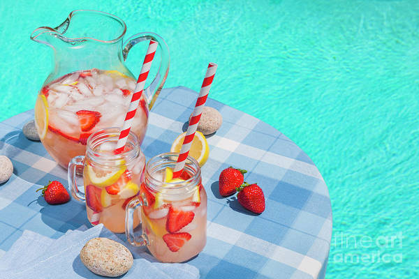Wall Art - Photograph - Strawberry Lemonade At Pool Side by Elena Elisseeva