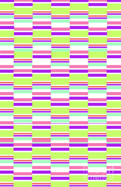 Pink And White Digital Art - Stripes by Louisa Knight