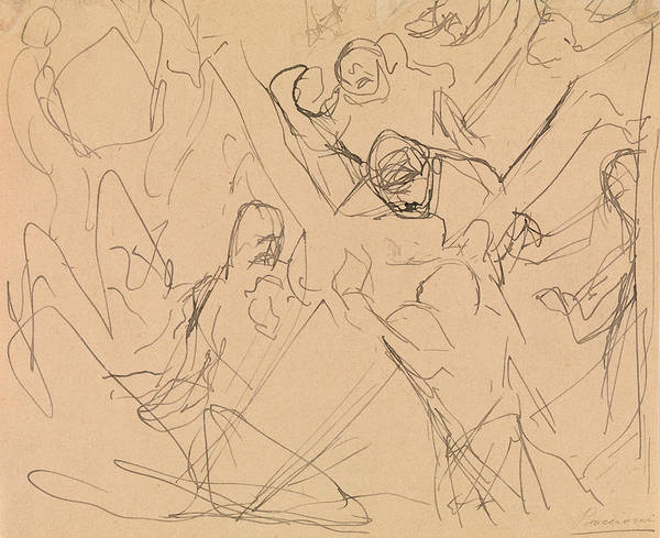 Drawing - Study For Mourning by Umberto Boccioni