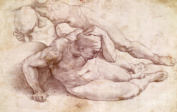 Male Figure Drawing - Study Of Three Male Figures  by Michelangelo