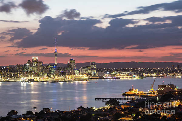 Photograph - Stunning Sunset Over Auckland In New Zealand by Didier Marti