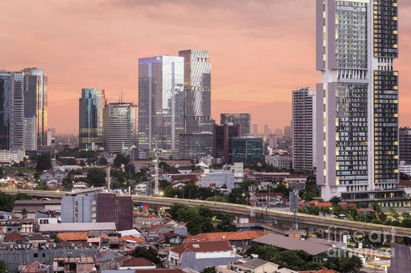 Photograph - Stunning Susnset Over Jakarta Business District In Indonesia Cap by Didier Marti