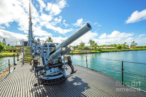 Uss Bowfin Photograph - Submarine Machine Gun by Benny Marty