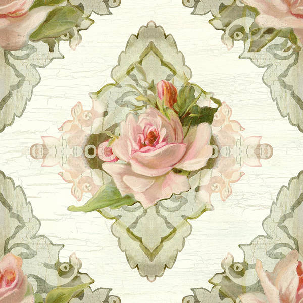 Cottage Style Wall Art - Painting - Summer At The Cottage - Vintage Style Damask Roses by Audrey Jeanne Roberts