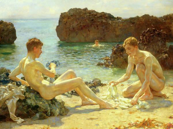 Sunbathing Painting - Sun Bathers by Henry Scott Tuke