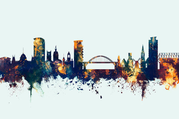 Sunderland Wall Art - Digital Art - Sunderland England Skyline by Michael Tompsett