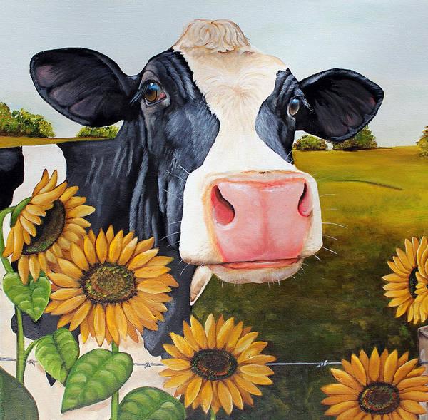 Holstein Wall Art - Painting - Sunflower Sally by Laura Carey