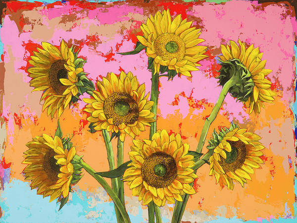 Wall Art - Painting - Sunflowers #7 by David Palmer