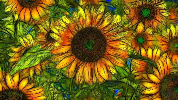 Abstrait Digital Art - Sunflowers by Jean-Marc Lacombe