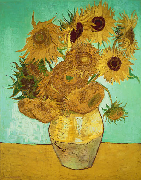 Background Painting - Sunflowers By Van Gogh by Vincent Van Gogh