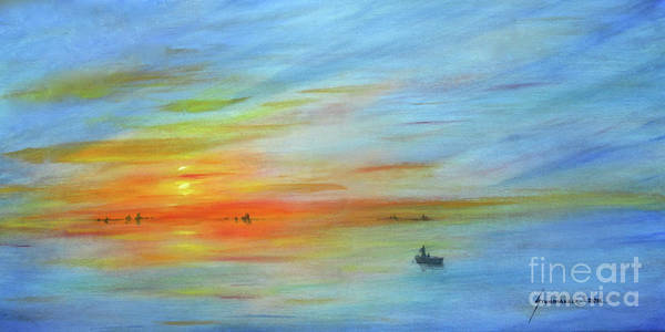 Wall Art - Painting - Sunrise On The River by Jerome Stumphauzer