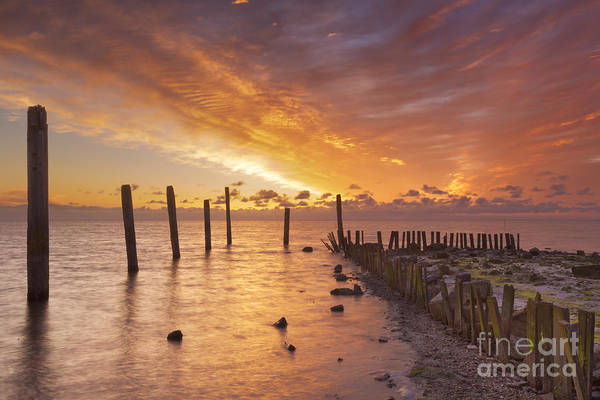 Waterbreak Wall Art - Photograph - Sunrise Over Sea On The Island Of Texel, The Netherlands by Sara Winter