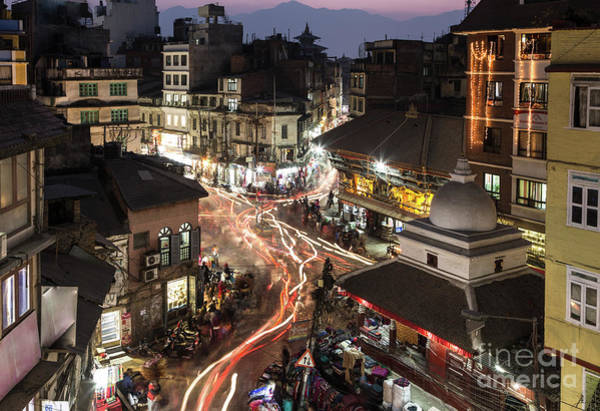 Photograph - Sunset And Light Trails In The Heart Of Kathmandu Old Town In Ne by Didier Marti