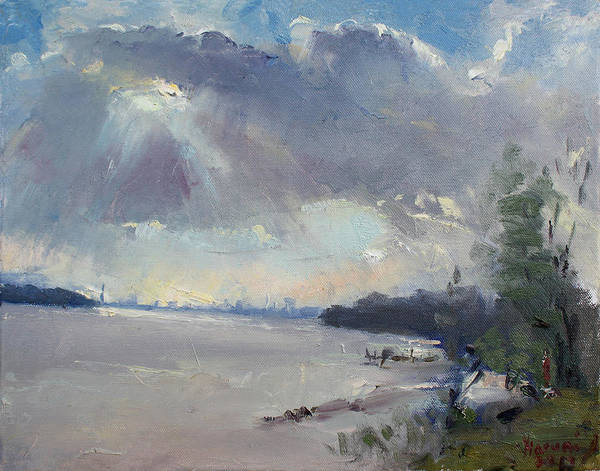 Wall Art - Painting - Sunset At Niagara River by Ylli Haruni