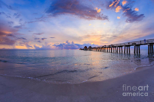 Photograph - Sunset Naples Pier Florida by Hans- Juergen Leschmann